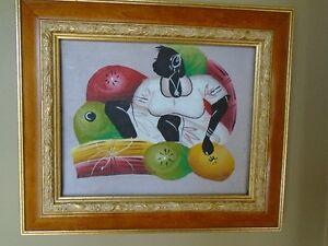 petite  toile/ peinture très colorée ,  art naïf antillais