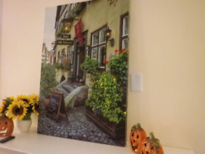 ****Scenic German Street on stretched canvas/frame...