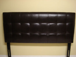 Like new Leather Head board and iron bed frame with wheels