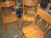THREE WOODEN CHAIRS & TABLE TOP