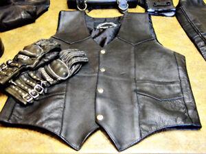 (Women's) Motorcycle Vest, Chaps, Gloves, Helmet, Glasses ….....