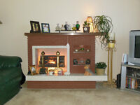 Electric Brick Fireplace Unique w 2 Small Lighted Inset Shelves