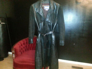 UNIQUE LADIES BLACK LEATHER TRENCH COAT