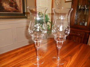 Princess House Heritage Crystal Hurricane Lamps, Candle Holders