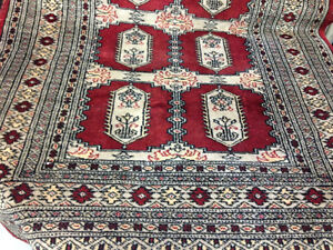 877: Rebecca Red and Grey Hand-Knotted Rug