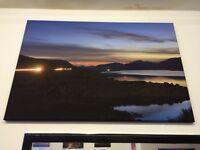 Night lights on Scottish loch canvas