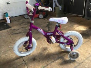 Girls Raleigh bike with training wheels.