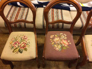 4 Grape Wooden Side Chairs with Needlepoint Seats
