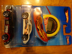 2 pack Hot Wheels die cast Track Aces with stopwatch