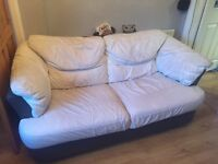 White 2 seater soft leather sofa