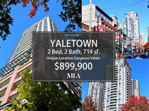 YALETOWN, 2 BED, 2 BATH, 714 SF, GORGEOUS VIEWS, $899,900
