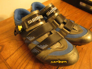 Shimano 'Carbon'  three strap cycling shoes - size 9