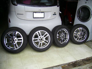 """CHROME 16"""" Wheels and DUNLOP Tires"""
