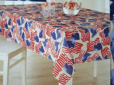 60x102 & 60x84 Oblong Flag Fabric Patriotic Tablecloth~Red/White/Blue NEW - Blue Fabric Tablecloth