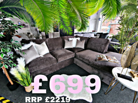 SALE!! NEW Rio Deep Taupe Right Hand Corner Sofa RRP £2299 DELIVERY AV
