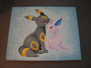 Nintendo Pokemon Umbreon and Espeon Eeveelution Painting