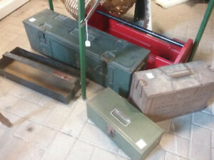 VINTAGE ARMY BOXES, TOOL BOXES, CARPENTER'S BOXES