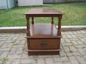 """""""Vilas"""" Wood Side Table with Dovetailed Drawer"""