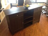 Solid Wood Shelf with Cabinets - Dark brown