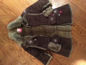 Girls Brown Winter Suede Coat