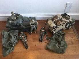 H M armed forces tank, jackal armoured vehicle and soldiers.
