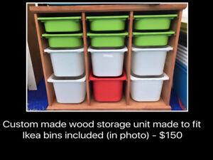REDUCED Custom made storage unit with bins