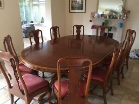 Walnut Dining Table and 12 chairs