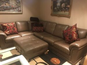 Genuine Leather Sectional L-Shape Sofa / Couch w/ Ottoman