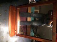 Dark wood mirror with shelf