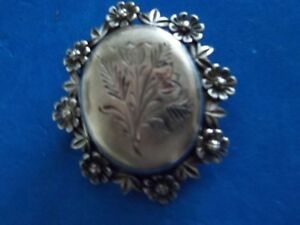 Antique Locket Brooch with hallmarks, Sterling Silver