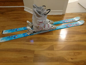 Skis and boots for 9 to 12-year-old