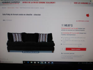 Sofa Putty en chenille 3 places