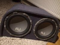 """Fli 2000w twin 12"""" car subwoofer amplifier sub amp stereo system"""