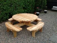 Round picnic table. Pub bench. Patio furniture. Heavy duty- 4 or 8 seater