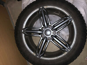 "17"" gunmetal rims on winter tires fits Audi S4 and A4"