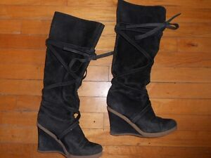 expression knee high wedge boots - size 9