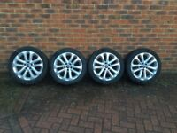 """Ford Zetec 10-spoke silver 17"""" alloys WITH 4 great condition TYRES"""
