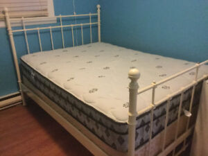 Double bed, metal frame with mattress and box spring