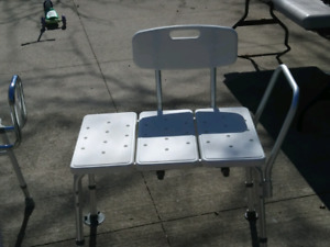 Adjustable shower chair and high sitting chair.