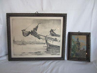 2x Bilder - Original Linolschnitt, signiert und Aquarell, schöne Rahmen um 1900