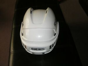 Hockey helmet and shin pads