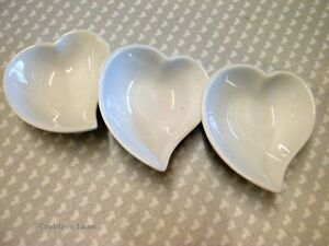 Love Heart Shaped Porcelain Dish - Set of 3 - White Wedding Gift Decoration Bowl