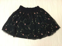 Black fluffy miniskirt with floral embroidery-vintage feel