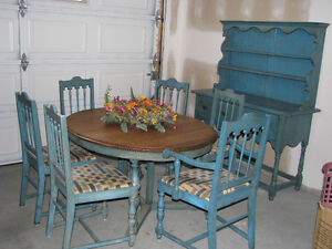antique victorian table and chairs and hutch