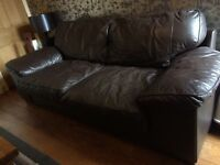 Three seater leather sofa brown
