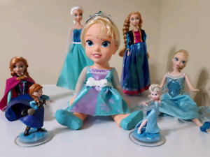 "Disney Frozen Gallore! Barbies, figurines, 14""baby doll, headset"