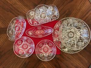 Glassware, pinwheel design, 8 Pieces