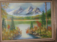 H. Bransombe Oil Painting on Canvas Landscape Mountains