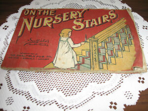 ....Child's Antique Muslin Book..ON the NURSERY STAIRS [1906]...