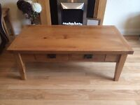Solid oak coffee table with draws